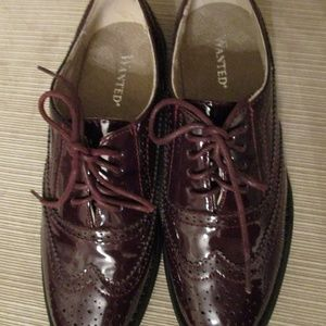 WANTED SHOES Brown Patent Leather Lace-Up Wingtips
